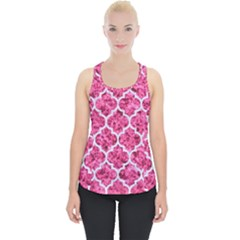 Tile1 White Marble & Pink Marble Piece Up Tank Top