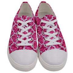 Tile1 White Marble & Pink Marble Women s Low Top Canvas Sneakers