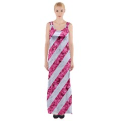 Stripes3 White Marble & Pink Marble (r) Maxi Thigh Split Dress