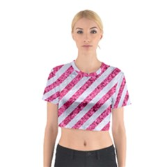 Stripes3 White Marble & Pink Marble (r) Cotton Crop Top