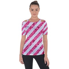 Stripes3 White Marble & Pink Marble (r) Short Sleeve Top
