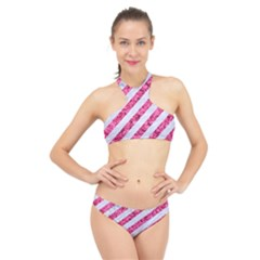 Stripes3 White Marble & Pink Marble (r) High Neck Bikini Set