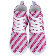 Stripes3 White Marble & Pink Marble (r) Women s Lightweight High Top Sneakers by trendistuff