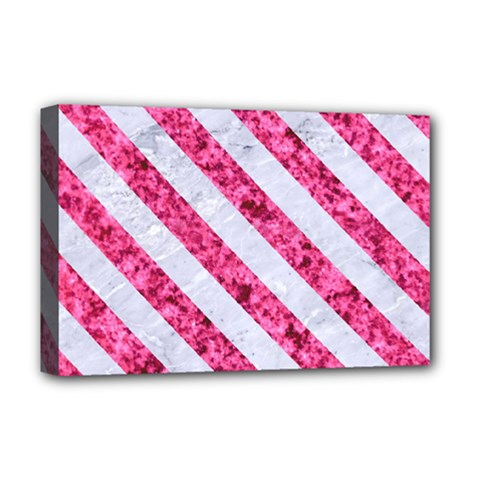 Stripes3 White Marble & Pink Marble Deluxe Canvas 18  X 12