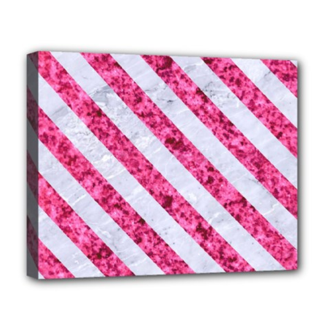 Stripes3 White Marble & Pink Marble Deluxe Canvas 20  X 16