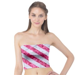 Stripes3 White Marble & Pink Marble Tube Top