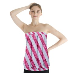 Stripes3 White Marble & Pink Marble Strapless Top by trendistuff