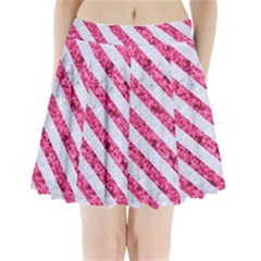 Stripes3 White Marble & Pink Marble Pleated Mini Skirt