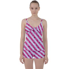 Stripes3 White Marble & Pink Marble Tie Front Two Piece Tankini