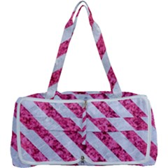 Stripes3 White Marble & Pink Marble Multi Function Bag