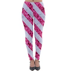 Stripes3 White Marble & Pink Marble Lightweight Velour Leggings