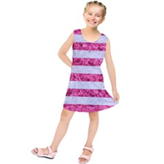 Stripes2white Marble & Pink Marble Kids  Tunic Dress