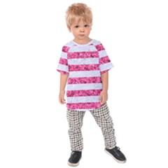Stripes2white Marble & Pink Marble Kids Raglan Tee