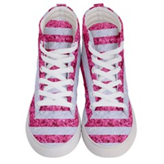 Stripes2white Marble & Pink Marble Women s Hi Top Skate Sneakers