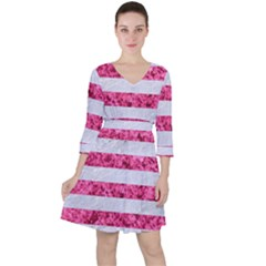 Stripes2white Marble & Pink Marble Ruffle Dress