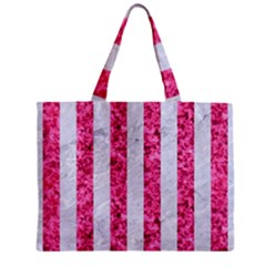 Stripes1 White Marble & Pink Marble Zipper Mini Tote Bag