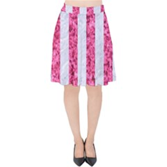 Stripes1 White Marble & Pink Marble Velvet High Waist Skirt