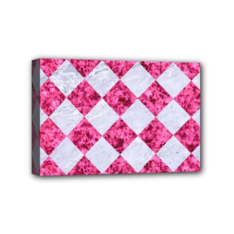 Square2 White Marble & Pink Marble Mini Canvas 6  X 4  by trendistuff
