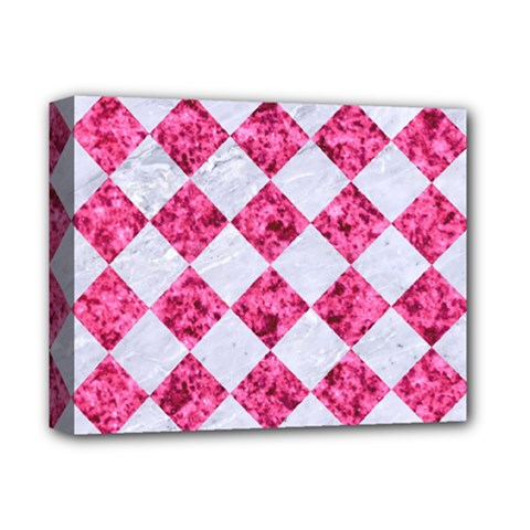 Square2 White Marble & Pink Marble Deluxe Canvas 14  X 11  by trendistuff