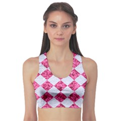 Square2 White Marble & Pink Marble Sports Bra