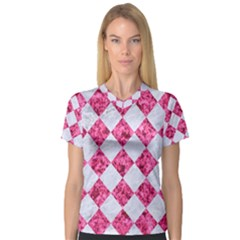 Square2 White Marble & Pink Marble V Neck Sport Mesh Tee