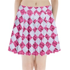 Square2 White Marble & Pink Marble Pleated Mini Skirt