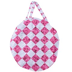 Square2 White Marble & Pink Marble Giant Round Zipper Tote