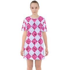 Square2 White Marble & Pink Marble Sixties Short Sleeve Mini Dress