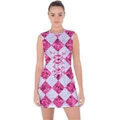 Square2 White Marble & Pink Marble Lace Up Front Bodycon Dress