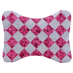 Square2 White Marble & Pink Marble Velour Seat Head Rest Cushion