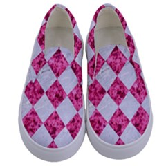 Square2 White Marble & Pink Marble Kids  Canvas Slip Ons