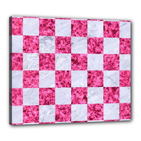 Square1 White Marble & Pink Marble Canvas 24  X 20