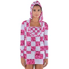 Square1 White Marble & Pink Marble Long Sleeve Hooded T Shirt