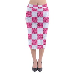 Square1 White Marble & Pink Marble Midi Pencil Skirt