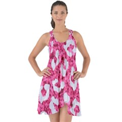 Skin5 White Marble & Pink Marble (r) Show Some Back Chiffon Dress