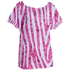 Skin4 White Marble & Pink Marble (r) Women s Oversized Tee
