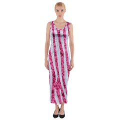 Skin4 White Marble & Pink Marble (r) Fitted Maxi Dress