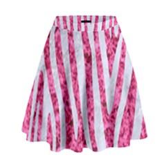 Skin4 White Marble & Pink Marble (r) High Waist Skirt