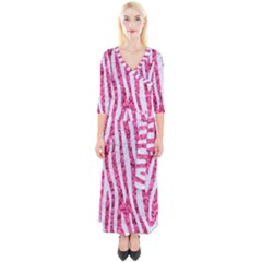 Skin4 White Marble & Pink Marble (r) Quarter Sleeve Wrap Maxi Dress