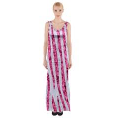 Skin4 White Marble & Pink Marble Maxi Thigh Split Dress