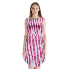 Skin4 White Marble & Pink Marble Sleeveless Chiffon Dress