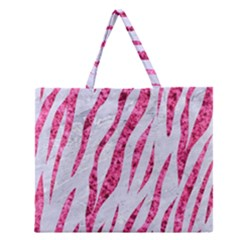 Skin3 White Marble & Pink Marble (r) Zipper Large Tote Bag