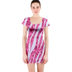 Skin3 White Marble & Pink Marble Short Sleeve Bodycon Dress