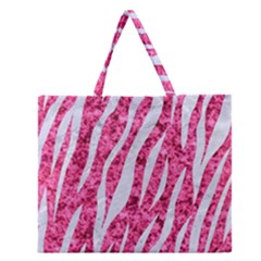 Skin3 White Marble & Pink Marble Zipper Large Tote Bag by trendistuff