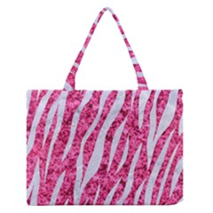 Skin3 White Marble & Pink Marble Zipper Medium Tote Bag by trendistuff