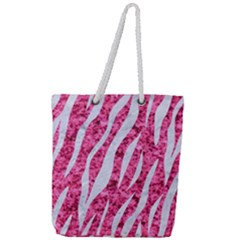 Skin3 White Marble & Pink Marble Full Print Rope Handle Tote (large) by trendistuff