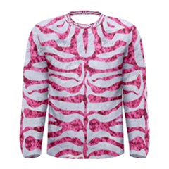 Skin2 White Marble & Pink Marble (r) Men s Long Sleeve Tee