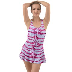 Skin2 White Marble & Pink Marble (r) Ruffle Top Dress Swimsuit