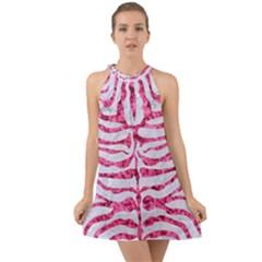 Skin2 White Marble & Pink Marble (r) Halter Tie Back Chiffon Dress