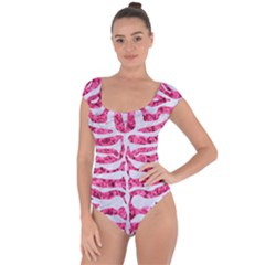 Skin2 White Marble & Pink Marble Short Sleeve Leotard